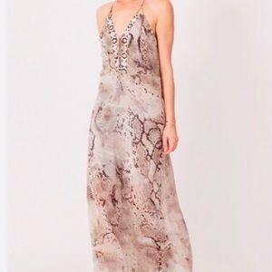 Hale Bob Python Print Maxi Dress w/Beading Size L